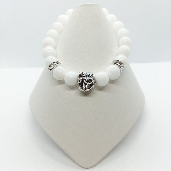Fehér elefánt szerencsehozó karkötő-Fehér Jade