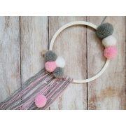 Baby Circle-Rose&Grey pompom